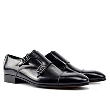 D'Annunzio - Black Shiny Leather Monk Strap